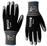 Work Gloves PU Coated-12 Pairs,KAYGO KG15P,Nylon Lite Polyurethane Safety Work Gloves, Gray Polyurethane Coated, Knit Wrist Cuff,Ideal for Light Duty Work