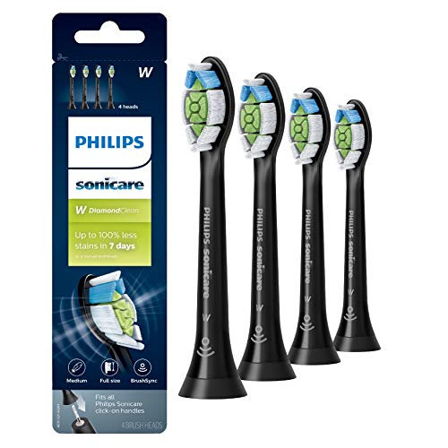 Genuine Philips Sonicare DiamondClean Toothbrush Head, 4 Pack, Black, HX6064/95