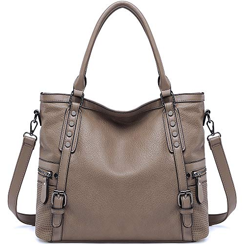 Women Handbags JOYSON Purses and Handbags Shoulder Bag Top Handle Satchel Tote Rivets Grey Brown