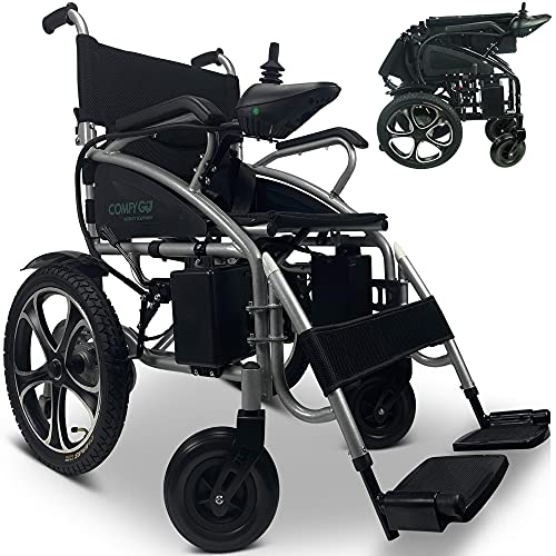 Portable Electric Wheelchair for Adults, Foldable Dual Motorized Power Wheelchairs, All Terrain Folding Wheel Chair, Comfortable Lightweight Travel Wheelchair (Black)
