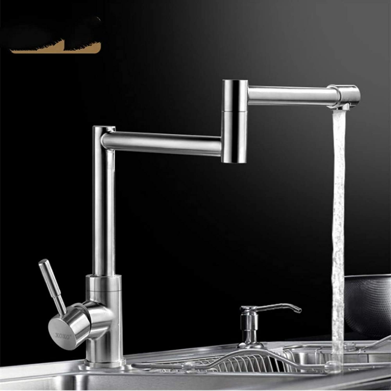 Lddpl Tap 304 Stainless Steel Swivel Head Dish Washing Basin Faucet Hot and Cold Wash Face Basin Shampoo Puckering