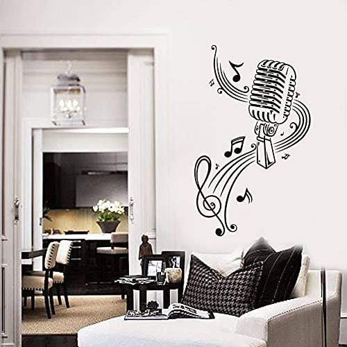 WERWN Calcomanías de Vinilo para Pared, micrófono, música, Nota, Arte, decoración de Interiores, Pegatinas, Dormitorio, Sala de música, KTV, Mural de Estilo Fresco