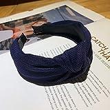 Turbantes para Mujer Diademas Banda para El Cabello Anudada para Mujer Accesorios para La Venda del Cabello Pañuelos De Moda Sombreros Femeninos-Navy_Blue