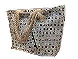 LeBag Giò - Bolsa de viaje de algodón para la playa, con correa para el hombro, bolsa de viaje + monedero con cierre de cremallera para mujer y niña Blanco Size: XXL