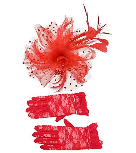 Mujeres Fascinadores y Guantes Set - Plumas Diadema Malla Señoras Día Sombrero Encaje Ropa Flor Pelo Clip Boda Party Accesorios Rojo