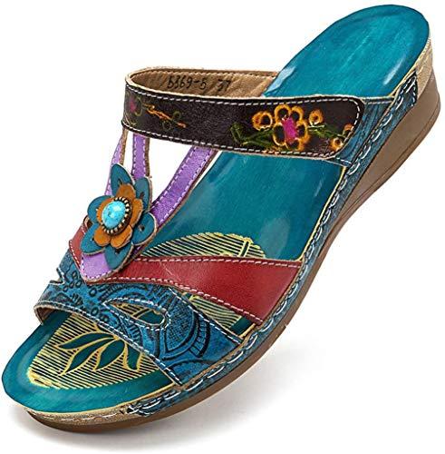 ONEYMM Estivi Comode Cuoio Sandali Donna Open Toe Sandali Stile Nazionale Fiori Sandali Piatti Zeppa Vintage Sportivi Sandali Scarpe da Spiaggia,Color,42