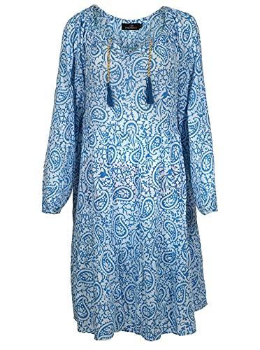 Zwillingsherz Sommerkleid im Paisley Design – Hochwertiges Abendkleid für Damen Frauen Mädchen - Freizeitkleid Cocktailkleid Strandkleid - Locker luftig – Perfekt für Frühling Sommer Herbst - blau