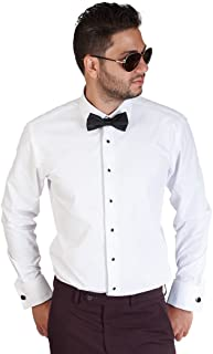 AZAR MAN Slim Fit Lay Down White French Cuff Tuxedo Dress Shirt