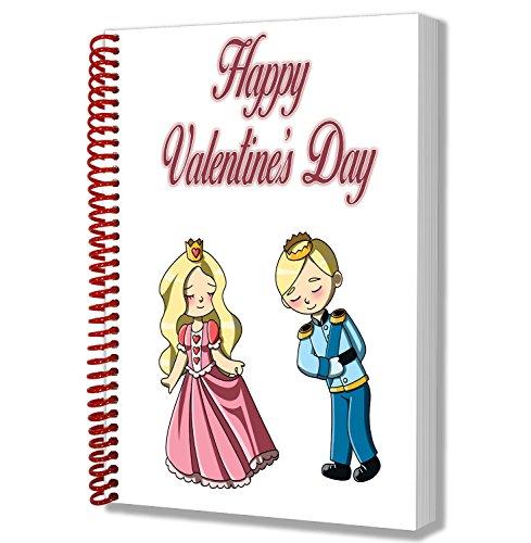 Regalo para el día de San Valentín para él o ella – Linda pareja de dibujos animados princesa y príncipe cuaderno