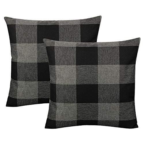 VAKADO Retro Farmhouse Buffalo Plaid Decorative Throw Pillow Covers Rustic Check Cushion Cases Home Decor for Couch Bed Sofa 18x18 Set of 2, Black and Grey/Gray