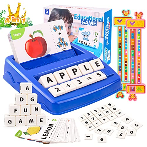 HONGDDY 4 in 1 Educational Toys  Learning Toys for Kids Ages 3-8  Preschool Matching Letter Game with Spelling Math Flash Cards  1-10 Digital Decomposition Ruler for Birthday