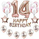Haosell 14e anniversaire décoration or rose pour fille, décoration d'anniversaire fille or rose 14 ans, 14 ans, 14 ans, 14 ans, rose doré