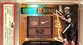 2017 Carson Wentz Panini Gold Standard Laundry Tag Signed MINT 9 AUTO 10 1/1 - PSA/DNA Certified - Football Slabbed Autographed Cards