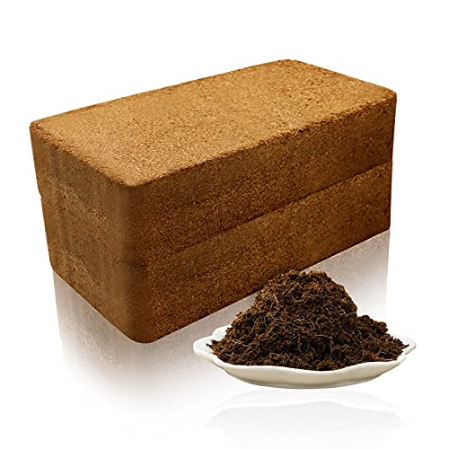 BILLIOTEAM 2 Pack Premium Coco Coir Brick,Compressed Coconut Fiber Garden Expandable Coir Soil Peat Block for Herbs Vegetables Flowers Berries Planting