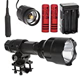 WindFire Cree Xm-l T6 LED 1600 Lumens 5 Modes Tactical Flashlight with Remote Switch Pressure Tail Switch Wire Extended Switch and Flashlight & Laser mount for Gun/Rifle/Shotgun plus 2x 18650 Rechargeable Batteries and AC Charger Complete Set