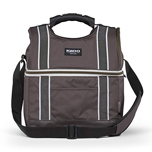 Igloo 22 Can Playmate Gripper Large Portable Lunchbox Soft Sided Insulated Cooler Bag with Adjustable Shoulder Strap for Hiking, Camping, Fishing, and Picnics, Olive