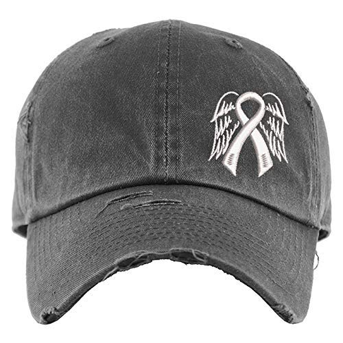 Cancer Ribbon with Wings Hat | Custom Cancer Awareness Ribbon Color | Sympathy Gift, Bereavement Gift, Loss Memorial Gifts