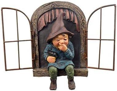 KEKOL Nain de Jardin Ornement résine Vilain GNOME Nain Statue 3D fenêtre Elfe sur la Porte Arbre Hugger polyrésine Sculpture