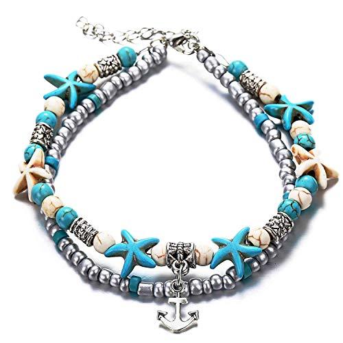 Boho Enkelbanden,LucBuy Blauwe Zeester Schildpad Multilayer Charme Kralen Handgemaakte Strand Enkelbanden Voet Sieraden Geschenken Voor Vrouwen Meisjes