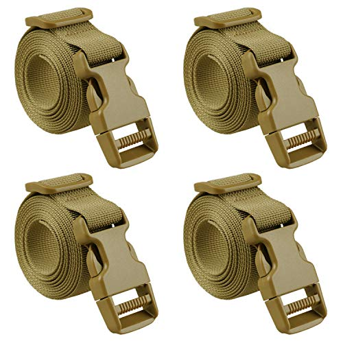 MAGARROW 40' 60' Strap Buckle Packing Straps Adjustable 1-Inch Belt (1' Wide - 60' Long, Tan (4-Pack))