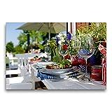 CALVENDO Premium Textil-Leinwand 75 x 50 cm Quer-Format Der Sommer-Gartentisch, Leinwanddruck von Tobias Trapp