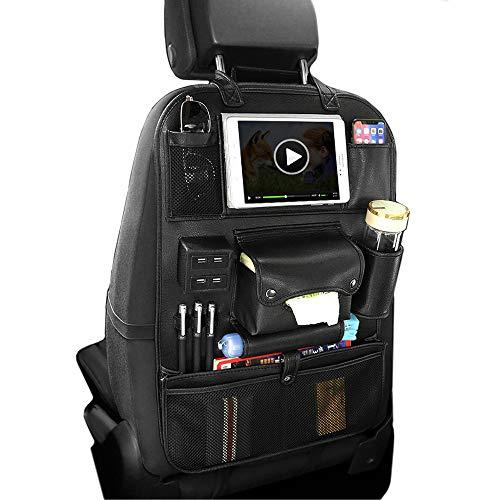 車用収納ポケット 多機能 PU素材- 4個USBポート 大容量後部座席収納 シートバックポケッ インストールが簡単 汚れ防止 防水防汚 耐久性 耐摩耗 車のシート収納ポケット (M-with USB, Black)