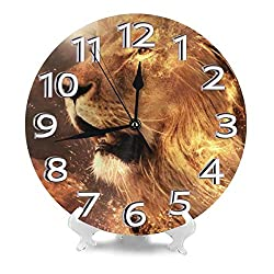 THONFIRE Round Wall Clock Flame Lions Desk Clocks Silent Decor Big Numerals Digital Quartz Clock Easy to Read for Home Bathroom Simplicity Accurate Sweep