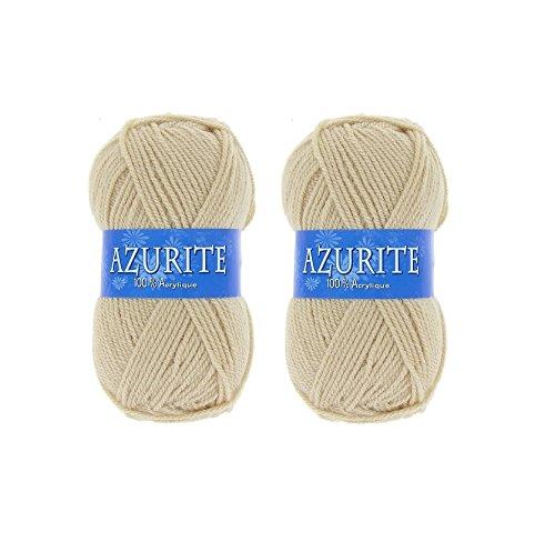 Lot 2 Pelotes de laine Azurite 100% Acrylique Tricot Crochet Tricoter - Marron - 3057