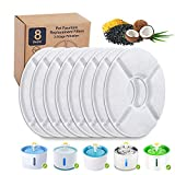 Alicedreamsky 8 Packs Pet Water Fountain Filters Replacement, Carbon Replacement Filter for Cat Fountain, Keep Water Clean Fresh, Remove Bad Tastes Odors