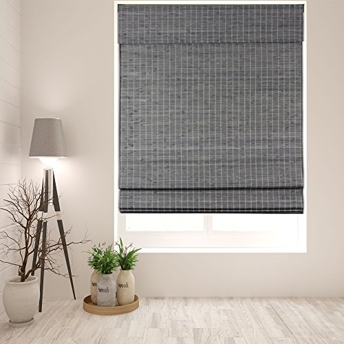 Arlo Blinds Cordless Semi-Privacy Grey-Brown Bamboo Roman Shades Blinds - Size: 34' W x 60' H, Cordless Lift System ensures Safety and Ease of use.