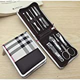 Set Household Household Stainless Steel Nail Clipper Set-9 piece white grid