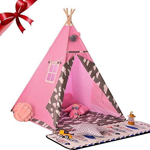 Earlyad Kids Canvas Tipi Indoor-Spielzimmer Kinderspielzelt Große Baumwolle Indian Wigwam Babys Kletterspiel Spielhaus, Pink