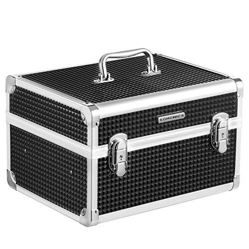 SONGMICS Kosmetikkoffer, Make-up Koffer für Reisen, Schminkkoffer, Make-up Aufbewahrung, für Friseure und Visagisten, mit herausnehmbarem Tablett, mit Schlössern, schwarz JBC328B01