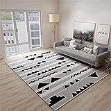 Alfombras Infantiles Baratas Anti-Sucio Diseño Moderno De Diseño Geométrico Rayado Gris Negro Home Salon Dormitorio Cocina Oficina Tapetes Alfombra 120X160cm