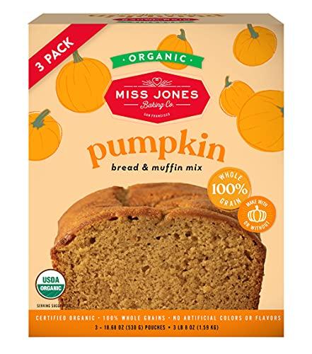 Miss Jones Baking Organic Pumpkin Bread & Muffin Mix - Non-GMO, Vegan-Friendly, 100% Whole Grains (3 Count Case)