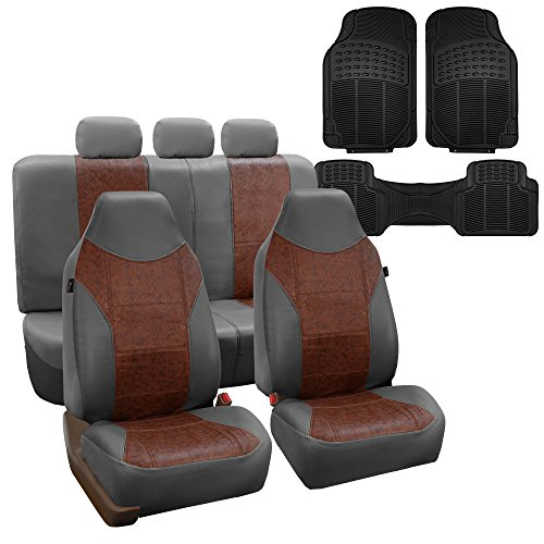 FH GROUP Textured High Back Leather Car Seat Covers