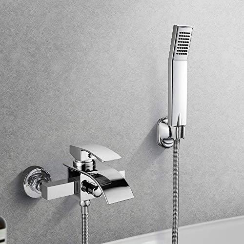 BONADE Elegant Wannenarmatur Badewanne Armatur Badewannen- & Duschsysteme Duscharmatur Wasserhahn inkl. Wandhalterung mit Handbrause für Bad Badezimmer Dusche, Lebenslange Garantie