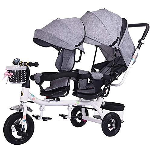 NBgycheche Triciclo Trike Cochecito de bebé Twin Tricycle, Cochecito de Bicicleta de Doble Asiento para niños 6 Meses ~ 6 años bebé Coche