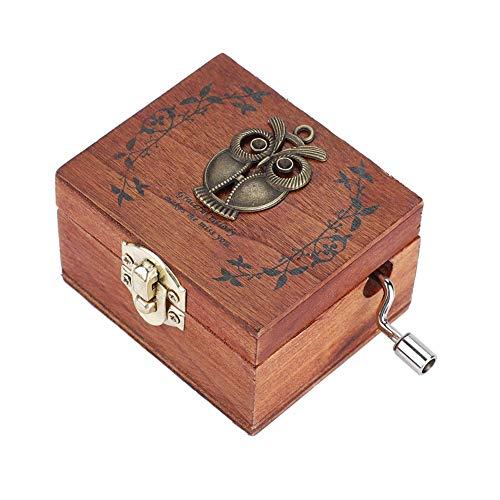 HERCHR Caja de música de Madera, Cajas de música Vintage, Caja de Caja Musical clásica con manivela, Regalo de cumpleaños para Pareja Niños Amigos (Patrón de búho)