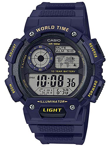 CASIO Herren Digital Quarz Uhr mit Resin Armband AE-1400WH-2AVEF