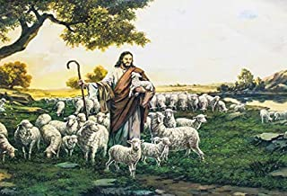 Yeele Backdrops 6x4ft Christ Resurrection Jesus Shepherd Laying Sheep Flock Church Grassland Forest Sunset Easter Christian Pictures Adult Artistic Portrait Photoshoot Props Photography Background