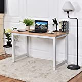 CHEFJOY Computer Desk PC Laptop Table Wood Work-Station Study Home Office Furniture, White & Natural