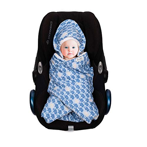SWADDYL Baby Bunting Bag I Swaddle Blanket I Universal for Car Seat Graco Chicco Britax | Stroller | Baby Bed I Made in Europe (Blue Elefant)