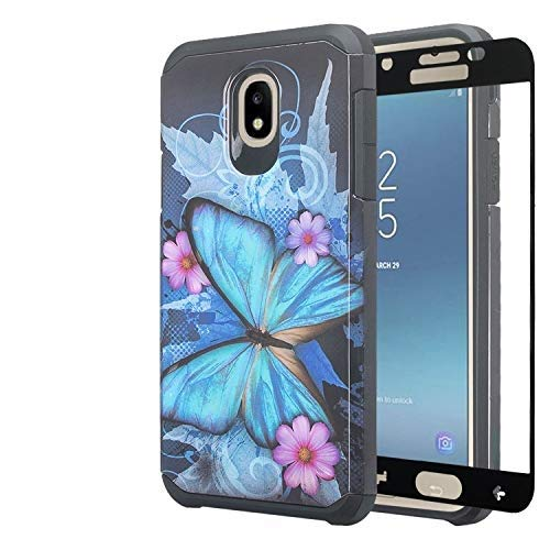 Galaxy J7 Star Case, J7 Crown/J7 Refine /J7 V 2nd Gen /J7 Aura w/[Tempered Glass Screen Protector] GW USA Silicone Shock Proof Dual Layer Hard Case Cover for Samsung Galaxy J7 2018 - Blue Butterfly