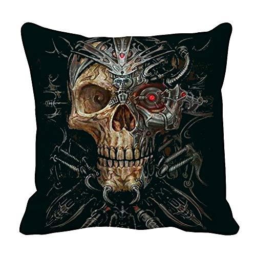 perfecone - Funda de almohada de algodón para sofá y coche, diseño de calavera, 1 paquete de 55 x 55 cm