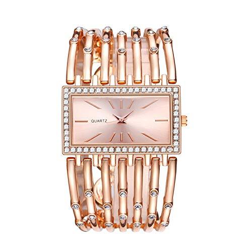 Hffan Uhren,Luxus Damen Armbanduhr mit Strass Glitzer Dial Damenuhr Metall-Band Ladies Dress Analog Quarzuhr