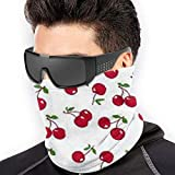 Scarf Deep Red Cherry Pattern Neck Gaiter Magic Headband Balaclava Hood Unisex Mask Bandana Winter...