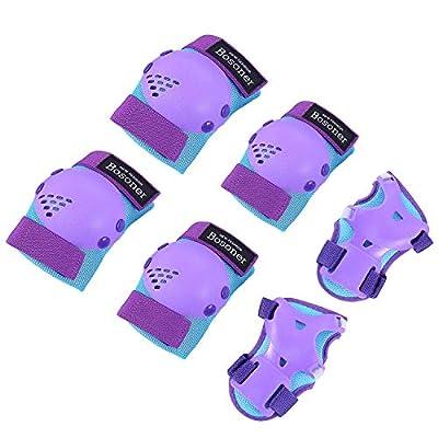 BOSONER Kids/Youth Knee Pad Elbow Pads for Roller Skates Cycling BMX Bike Skateboard Inline Rollerblading, Skating Skatings Scooter Riding Sports (Blue/Purple, Medium(6-15 Years))