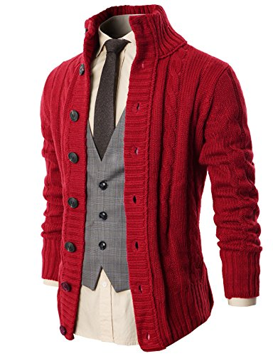 H2H Men's Winter Jacket Warm Tops Wool Shirt Cardigan Sweater with Button Details Wine US L/Asia XL (KMOCAL020)