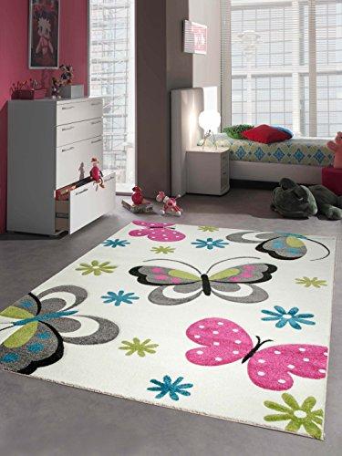 Tapis enfants de jeu de tapis Papillon Design Cream Rose Gris Bleu Vert Größe 120 cm Rund
